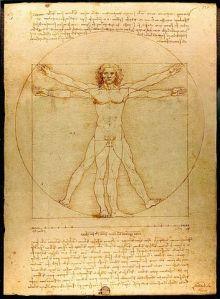Vitruvian Man by Leonardo da Vinci, Galleria dell' Accademia, Venice (1485-90). Image by Luc Viatour,  www.Lucnix.be, in the public domain.