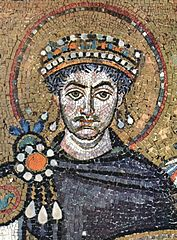 Emperor Justinian by Meister von San Vitale in Ravenna. Image in public domain.
