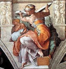 Libyan sibyl by Michaelangelo Buanarotti, Sistine Chapel, (1508-12). Image in public domain