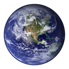 Earth from space, Western hemisphere. Image by NASA, in public domain